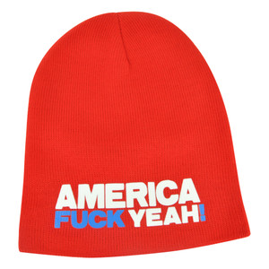 America F&ck Yeah! Humor Funny Skully Beanie Knit Skully Winter Cuffless Hat Red