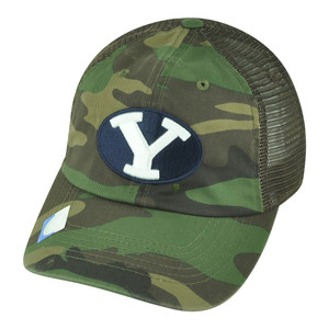 NCAA Brigham Young Cougars Hermit Snapback Mesh Garment Wash Camouflage Hat Cap