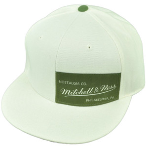 Mitchell & Ness Brand White Semi Constructed Flat Bill Fitted Hat Cap Size 7 7/8