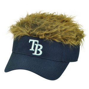 MLB Tampa Bay Rays Creed Flair Navy Brown Hair Visor Faux Fur Velcro Hat Cap