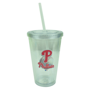 MLB Philadelphia Phillies Tumbler Cup Straw Lid 16oz Water Liquid Plastic Clear