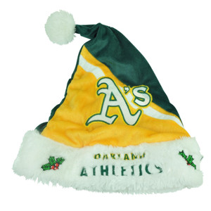 MLB Oakland Athletics Christmas Holiday Santa Hat Color Block Velvet One Size