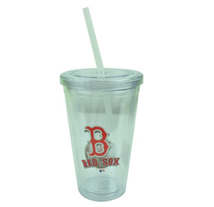 MLB Boston Red Sox Tumbler Cup Straw 16oz Water Liquid Plastic Clear Sip N Go
