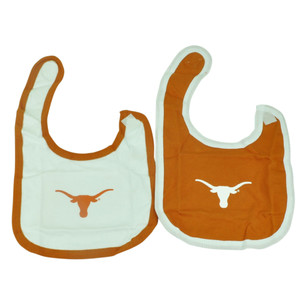 NCAA Texas Longhorns 2 Pack Bibs Infant Size Eating Cloth White Orange Printed
