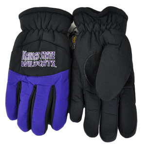 NCAA Kansas State Wildcats 2 Tone Winter Snow Ski Gloves Thermal Insulation S/M