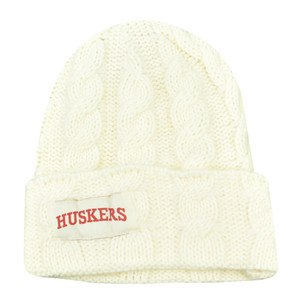 NCAA Nebraska Cornhuskers Huskers Kiera Women Ladies Cuffed Crochet Beanie Knit