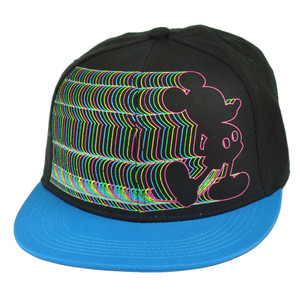 Disney Mickey Mouse Electrifying Neon Flat Bill Cartoon Black Snapback Hat Cap