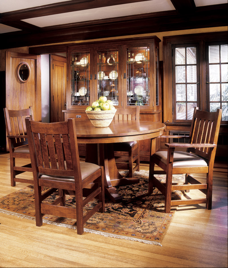Round Pedestal Oak Dining Table