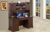 "Canyon Ridge 66"" Flat Top Desk and Hutch: Cherry"