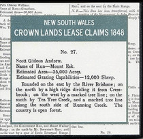 New South Wales Crown Lands Lease Claims 1848