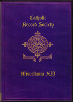 Catholic Record Society Miscellanea Volume XII