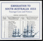 Emigration to South Australia 1853: Passenger Lists and Notices