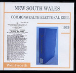 New South Wales Commonwealth Electoral Roll 1939 Wentworth