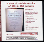 A Book of 189 Calendars for AD1752 to 1940 Inclusive