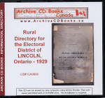 Rural Directory for the Electoral District of Lincoln, Ontario 1929