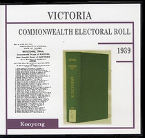 Victoria Commonwealth Electoral Roll 1939 Kooyong
