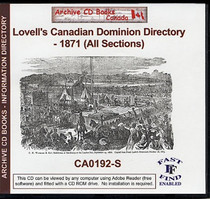 Lovell's Canadian Dominion Directory 1871 (All Sections)