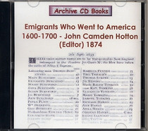Emigrants Who Went to America 1600-1700