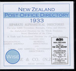 New Zealand Post Office Directory 1933 (Wise)