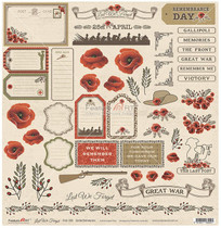 Feature Art 12x12 Lest We Forget Embellishments