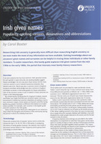Handy Guide: Irish Given Names: Popularity, Spelling Variants, Diminutives and Abbreviations