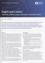 Handy Guide: English Given Names: Popularity, Spelling Variants, Diminutives and Abbreviations