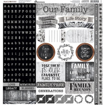 Reminisce 12x12 Family Story Alpha Stickers