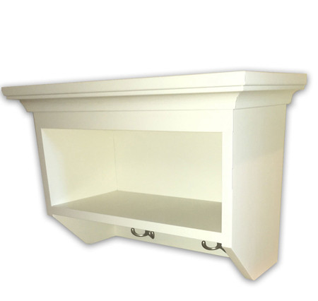 Small cubby shelf with hooks