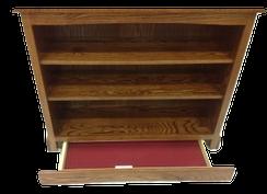 Short bookcase with secret compartments