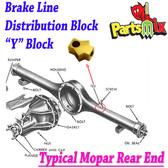 Mopar Rear Axle Brass Tee / Y Block Fits: 66-70 B Body w/Dana 60, 70 B Body with 8 3/4, 67-69 A Body with 8 3/4
