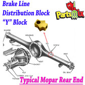Mopar Rear Axle Brass Tee / Y Block Fits: 66-70 B Body w/Dana 60, 70 B Body with 8 3/4, 67-69 A Body with 8 3/4