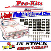 1968 75 Dart & Valiant Windshield Chrome Reveal Molding Clip Kit