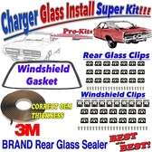 68 69 70 Charger Windshield Gasket w/Clips & Rear Glass Sealer w/Clips Installation Kit