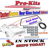 70 71 72 73 74 75 76 Duster, Demon, Dart Sport Rear Glass Window Gasket with Chrome Reveal Molding Clips