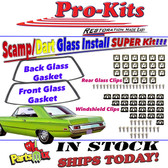68 69 70 71 72 73 74 75 76 Dart, Scamp, Valiant Windshield & Rear Glass Gaskets with Reveal Molding Clips (2 Door Hardtop)