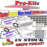 70 71 72 73 74 75 76 Duster Demon Dart Sport Windshield & Rear Glass Gaskets with Reveal Molding Clips