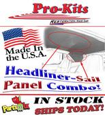 72-74 Cuda 4 Bow Headliner & Sail Panels Kit-Perforated Material