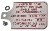 66-72 B, C, & E-Body A/C Data Tag for RV-2 Compressor