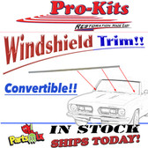 RIGID LOCKSTRIP, CHROME for 67-69 Barracuda/Dart Convertible. Fits onto lower windshield gasket.