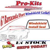 67 Dart 2 door hardtop & 67 Barracuda Hardtop, coupe/notchback & convertible Windshield Gasket
