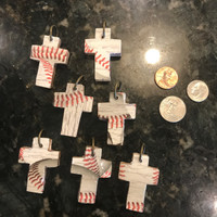 Small Wooden Baseball  Cross Pendant
