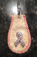 Vintage Baseball Key Ring-Breast Cancer Awareness Ribbon