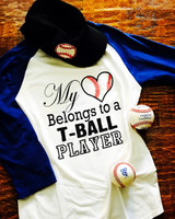 My Heart belongs to a TBALL Player Baseball Mom Shirt