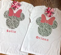 Personalized Zebra Minnie Mouse Disney Tee