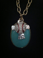 Turquoise Cross Necklace with Bling Baseball Charm