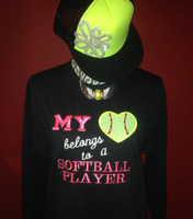 My Heart Belongs to A Softball Player Crew Neck Fleece