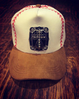 Printed Baseball/Softball Stitches Cap with Black Onyx Cross Pendant