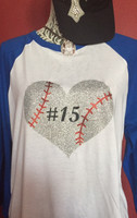 Personalized Baseball Heart Raglan