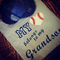 My Heart Belongs To My Grandson Baseball Grandma Tee
