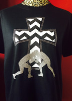 Wrestling Tee with Chevron Cross and Bling